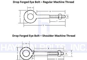 Eye Bolt Drop Forged RegularAndShoulder - Haydon Bolts Inc