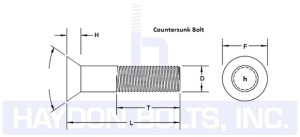 Countersunk Bolt Dimension Drawing - Haydon Bolts Inc