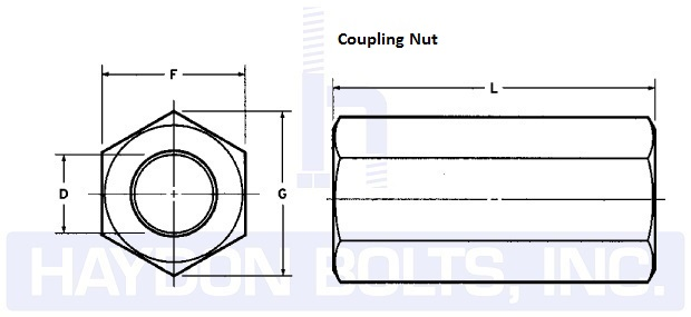 Coupling Nuts Hex Or Heavy Hex Haydon Bolts Inchaydon Bolts